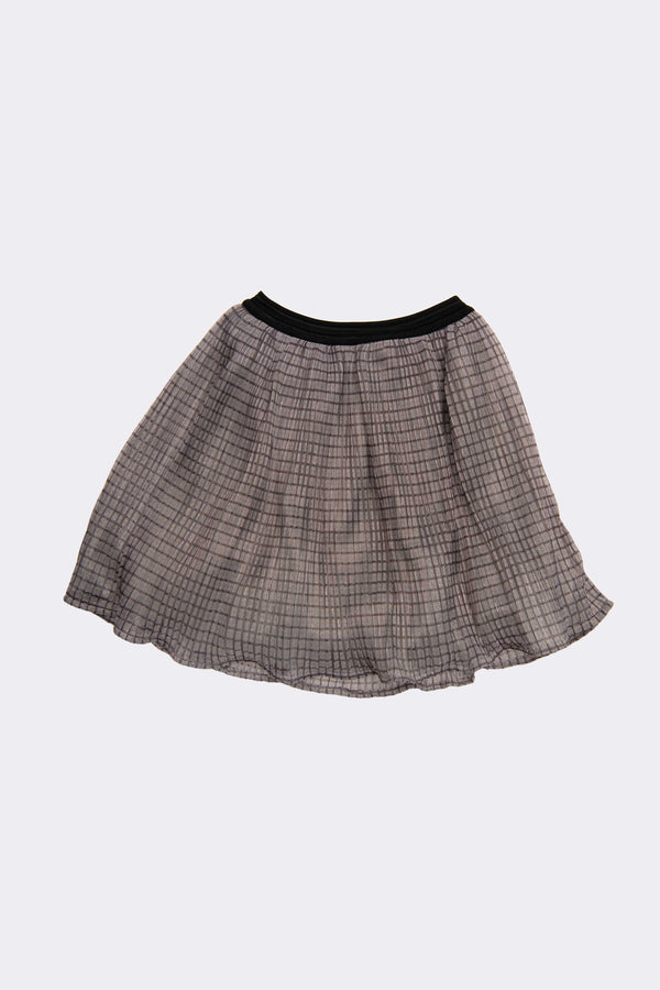 Pink girls shiny skirt with black trim