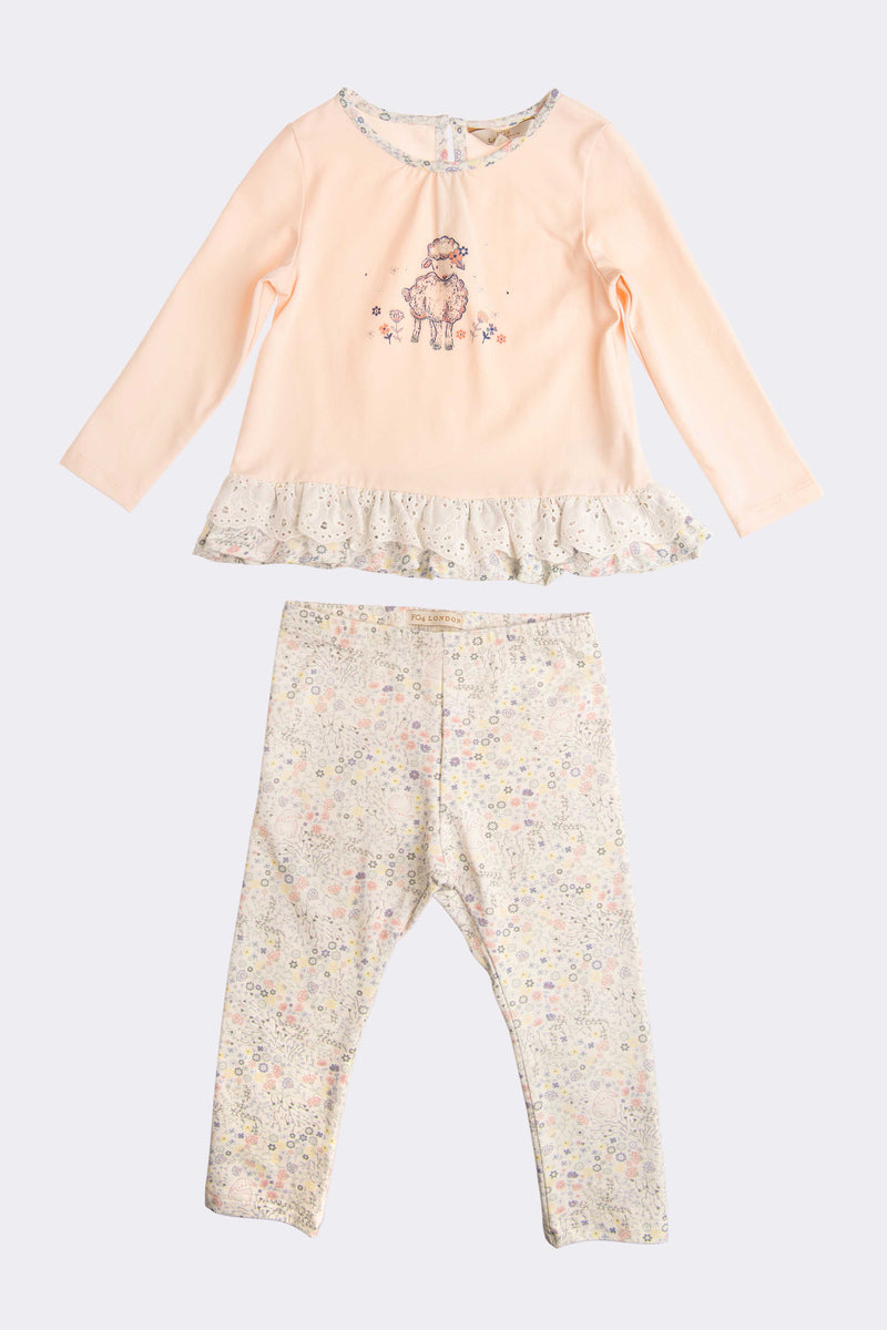 Girls long sleeve Pink top and full length spotted trousers