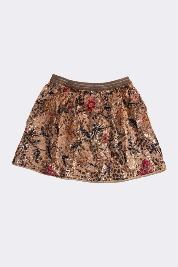 girls gold sequin skirt with all over floral patterm