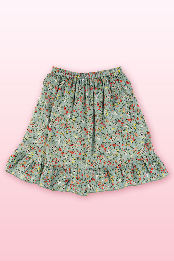 Green skirt with floral print