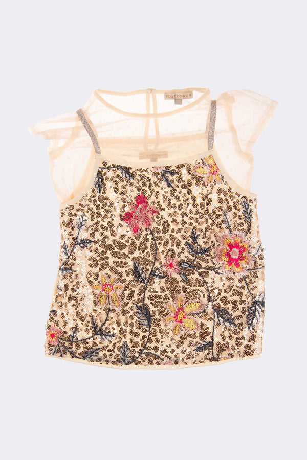 Girls cap sleeved top with leopard print effect.