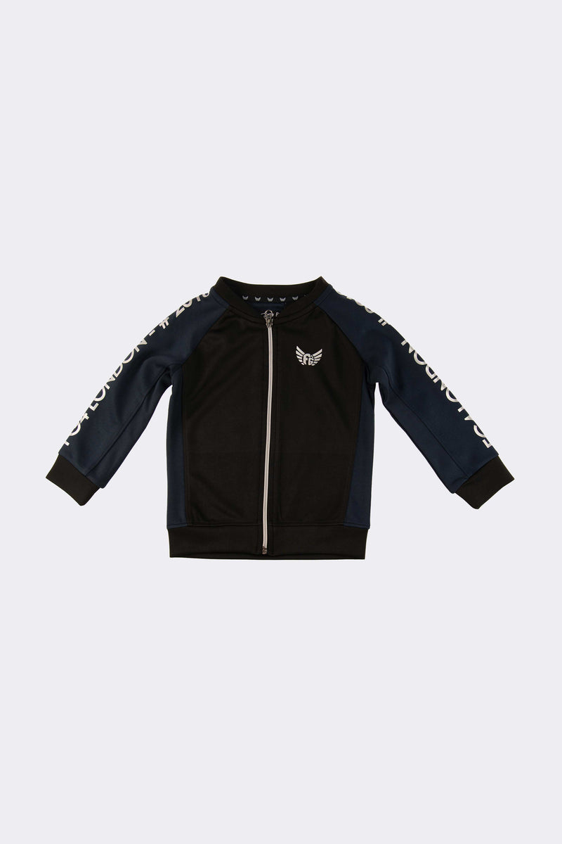 Navy and black boys sweat jacket with front opening zip