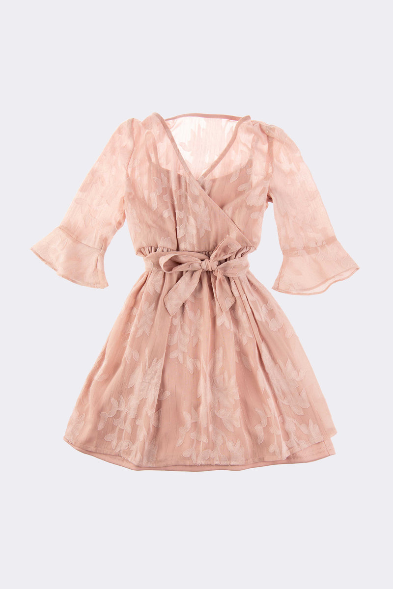 Long sleeve, knee length, girls pink dress with tie up yourself bow.