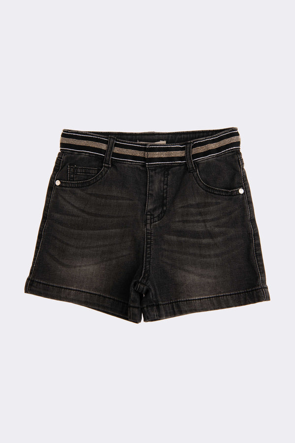 Black denim shorts with side pockets and buttons for opening