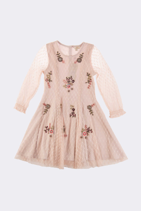 Girls lilac long sleeve, knee length dress with a floral embroidery finish.