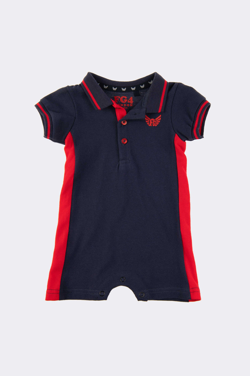 Navy all in one boys romper suit with front opening buttons/