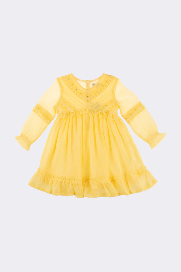 Yellow knee length girls dress with long sleeve