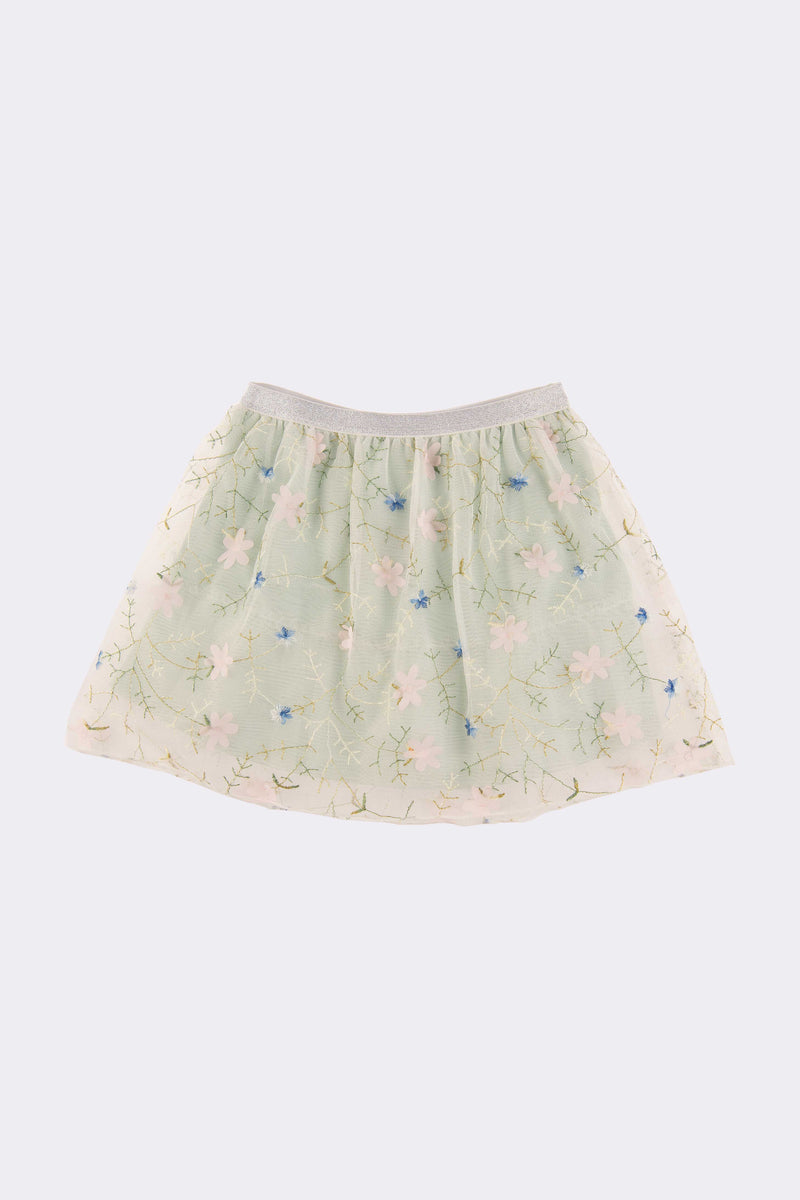 Cream knee length girls skirt with a sprinkle of blue colour