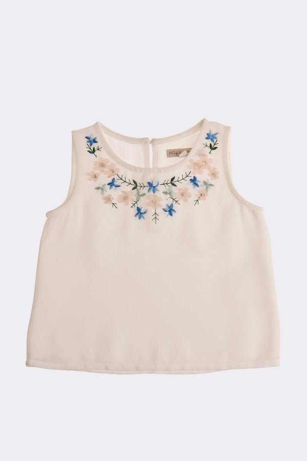 sleeveless girls lilac top with floral design