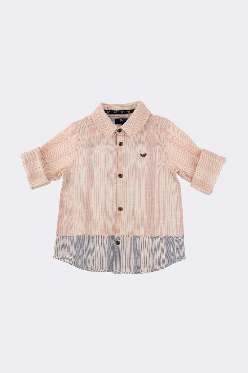 Cream long sleeve boys shirt with blue fade at the bottom and front button opening