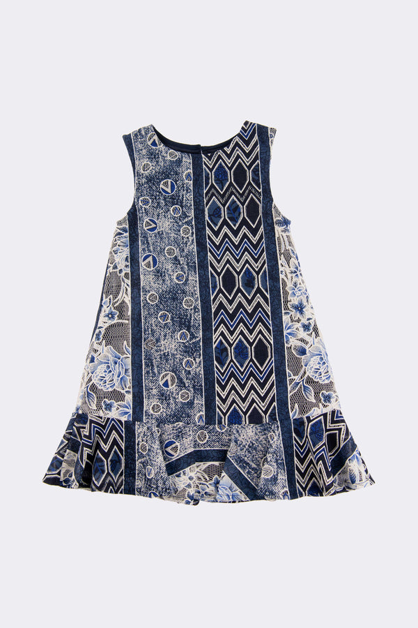 Blue patterned sleeveless girls dress
