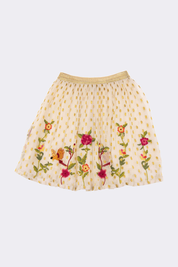 Gold girls skirt with floral embroidery