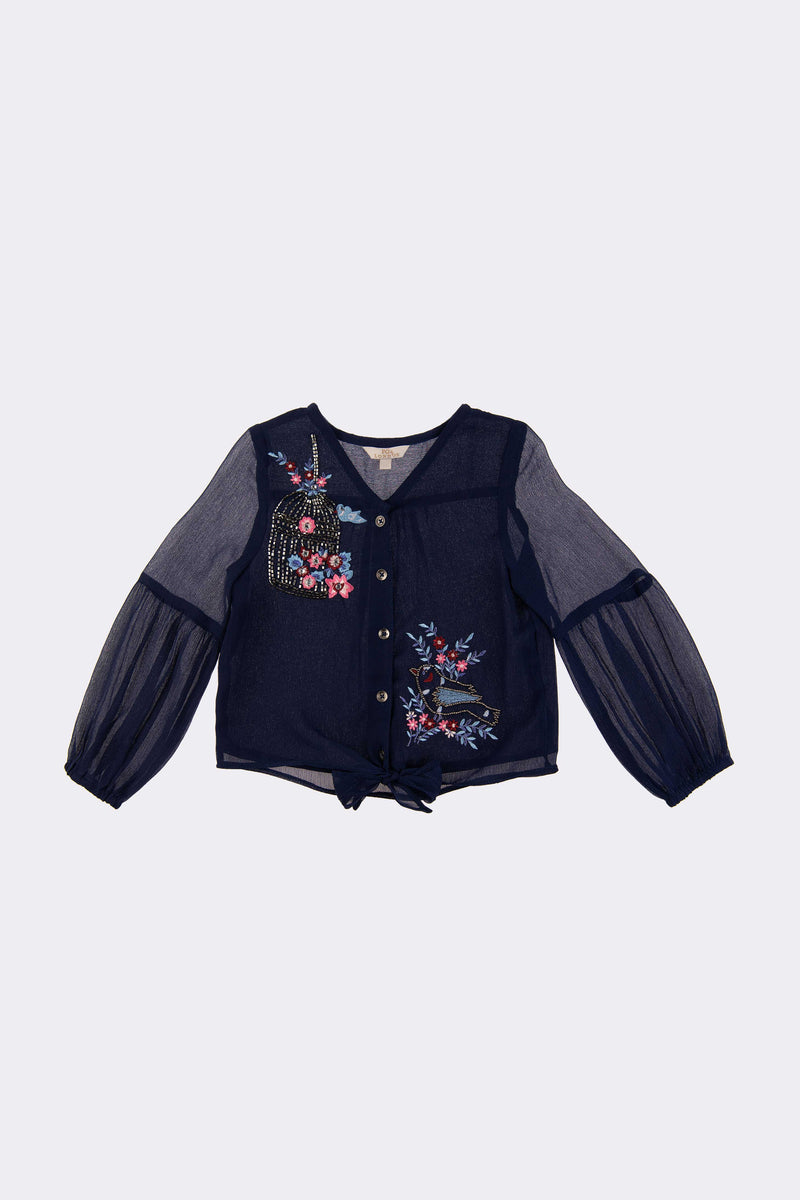 Girls Navy long sleeve blouse with front opening buttons and floral embroidery