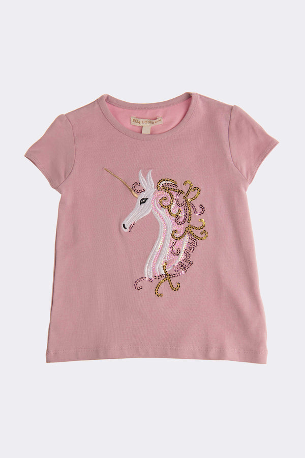 Short sleeve Lilac toddler girls top with a print of a unicorn
