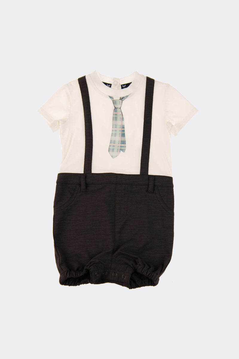 All in one piece, white shirt with black shorts and tie