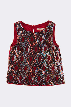 Red hand embellished sleeveless top with U shaped neck