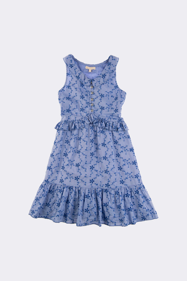 Blue sleeveleess above the knee dress with front opening buttons