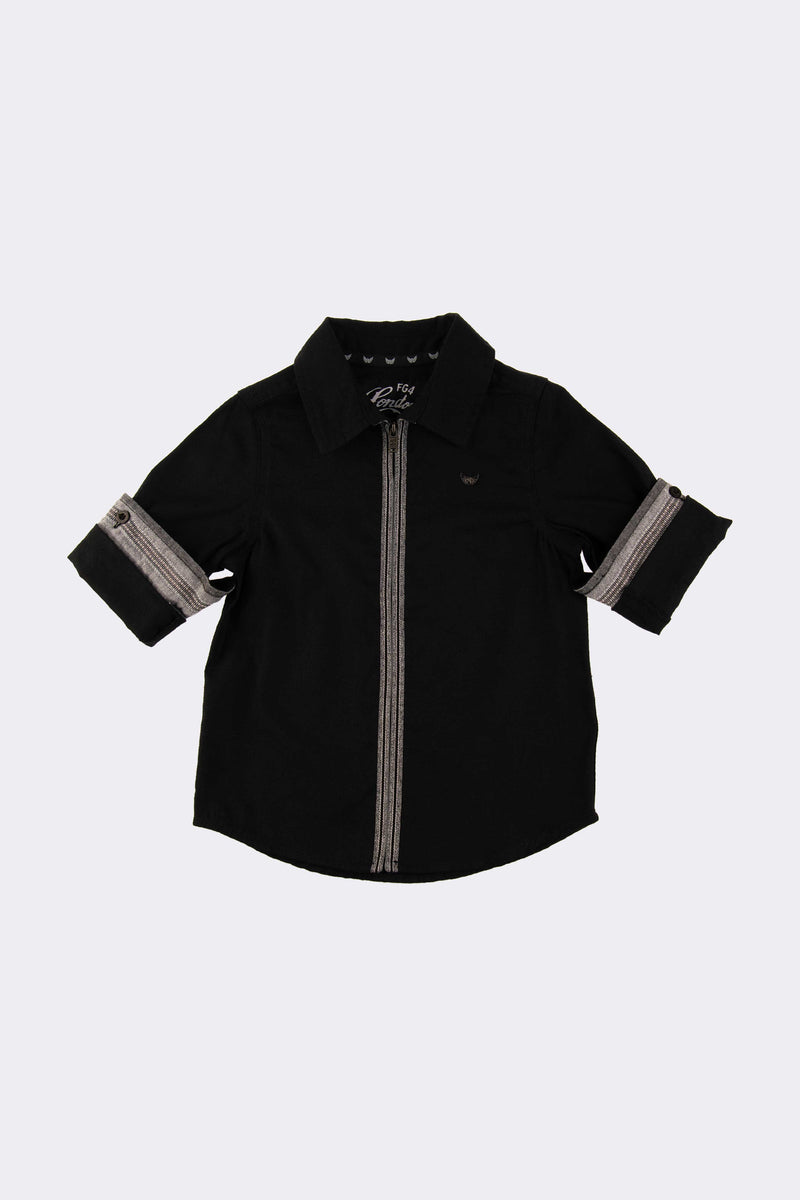 Black short sleeve boys shirt with front opening buttons