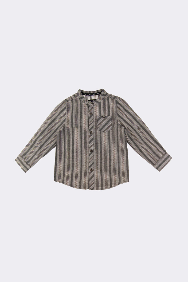 Multi colour long sleeve boys stripe shirt with front opening t