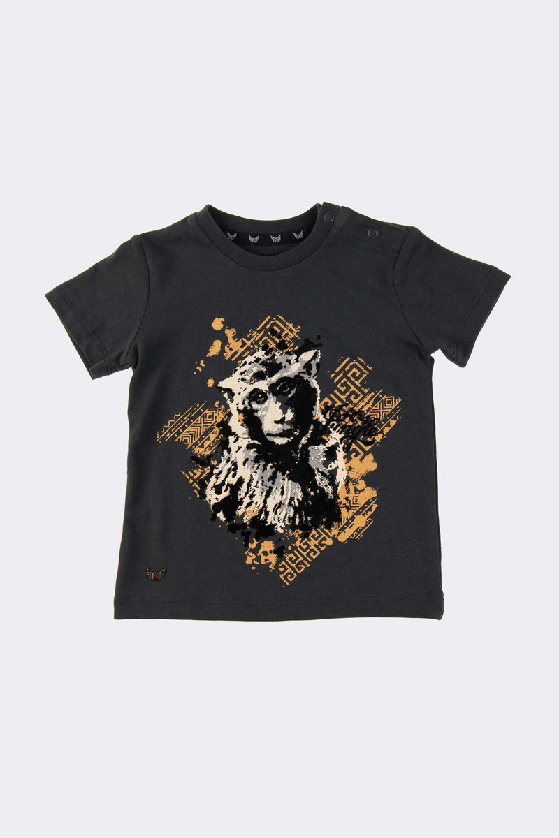 Short Sleeve Charcoal boys T Shirt with print on front