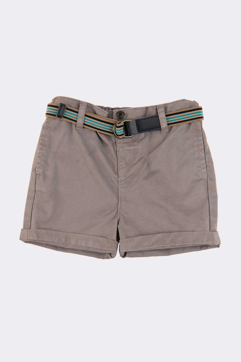 baby toddler boys shorts in grey with side pockets and detachable belt