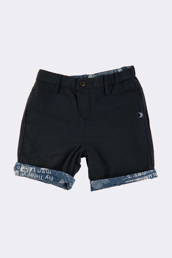 Navy blue reversible boys shorts with front zip and side pockets