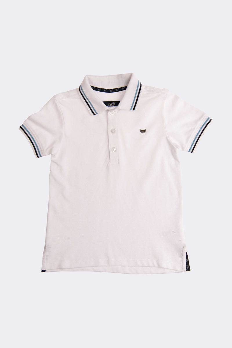 White polo shirt with blue trim on collar and sleeves.