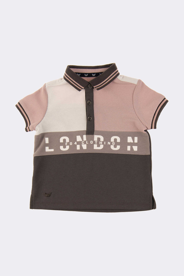 short sleeve boys polo shirt with pink and grey checks and collar with front opening buttons