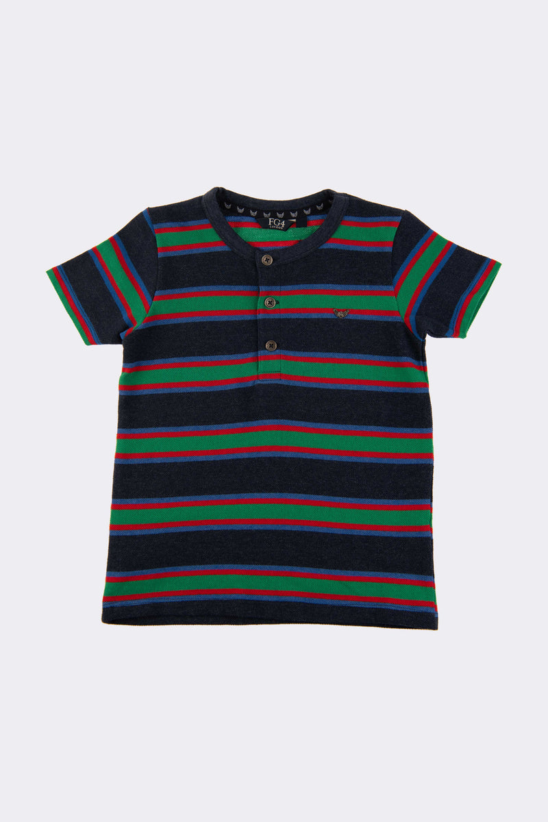 Multi stripe t shirt with front opening buttons and round neck