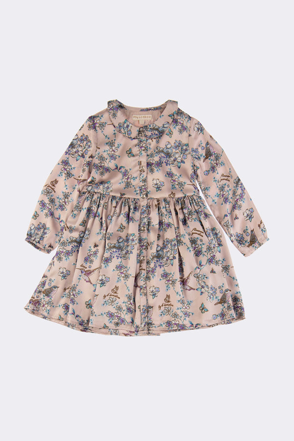 Multi floral dress with long sleeves and button front