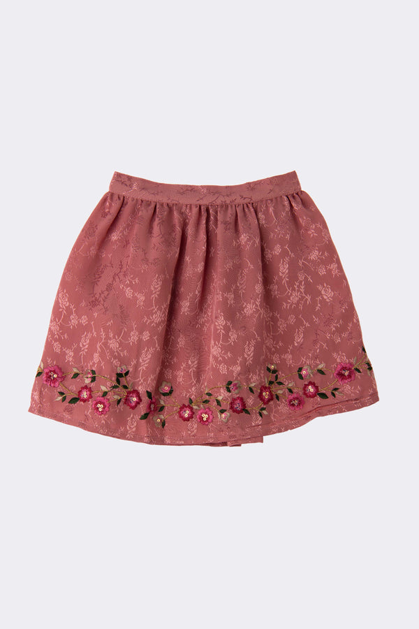 Pink jacquard fabric knee length skirt with floral embroidery