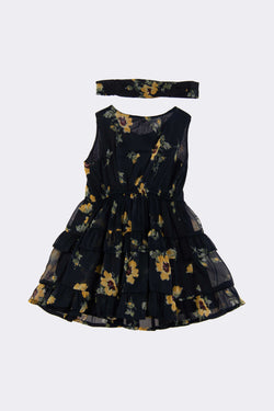 Navy sleeveless floral knee length dress