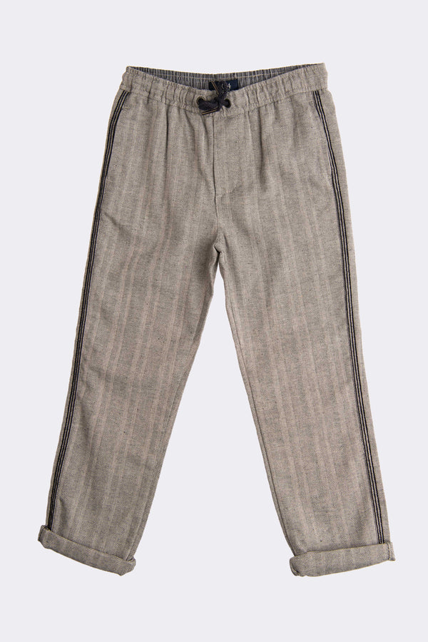 Full length grey boys trousers with turn ups at the bottom and cords/tie/COD to keep it  comfortable wear.