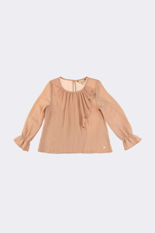 Cream long sleeve girls top with frill details