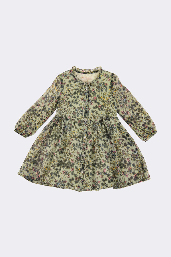 Sage coloured, long sleeved girls dress with front button opening.
