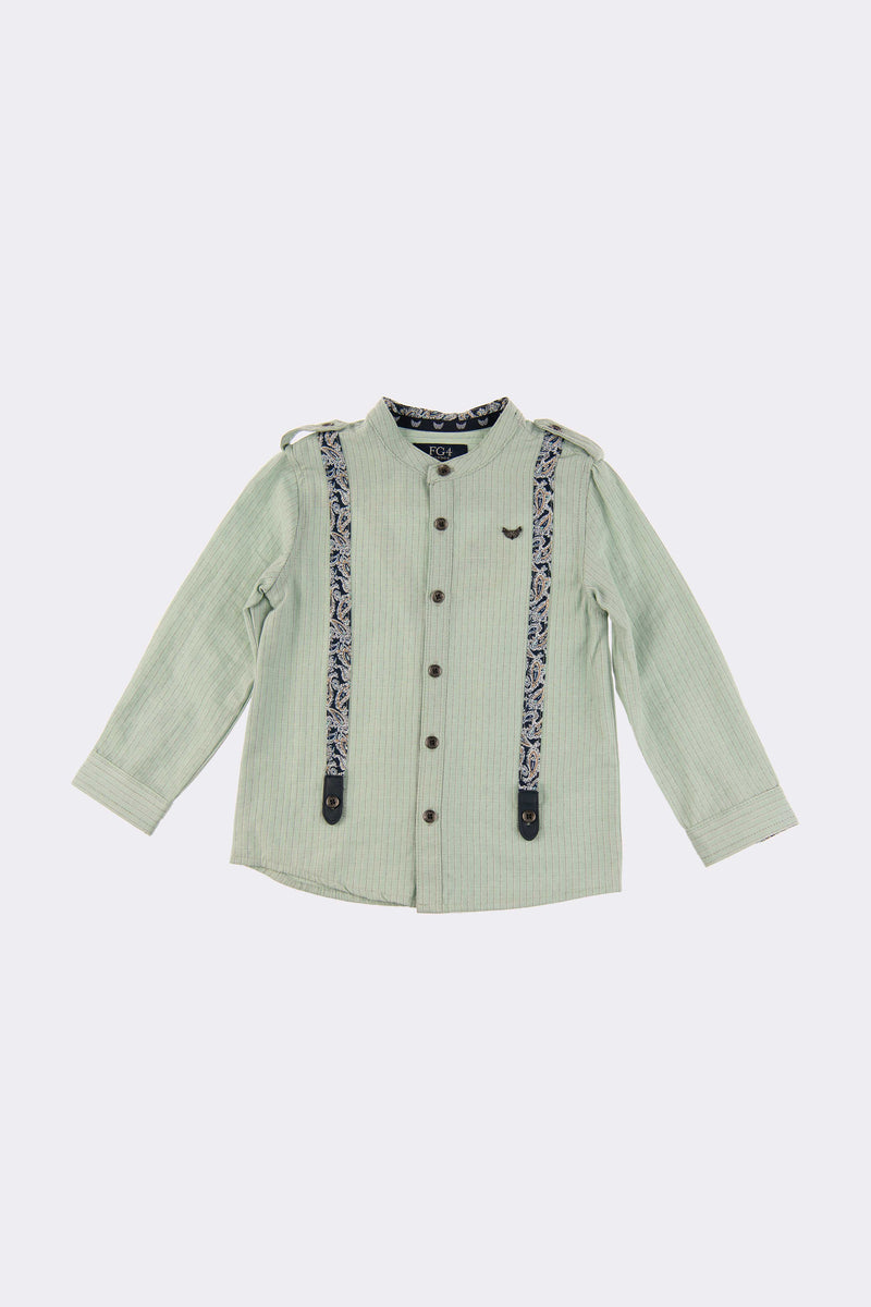 Long sleeve aqua shirt with grandad collar neck, front buttons and detectable braces