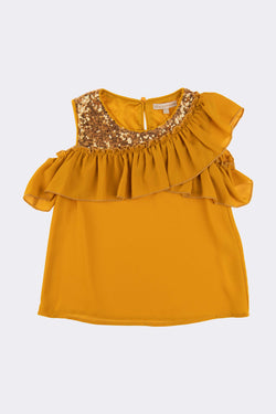 Mustard coloured sleeveless blouse with embellished sparkly stones under the neck and across the shoulder