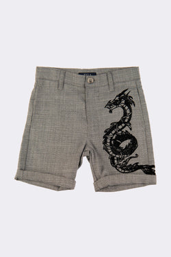 Grey boys knee length shorts with dragon print