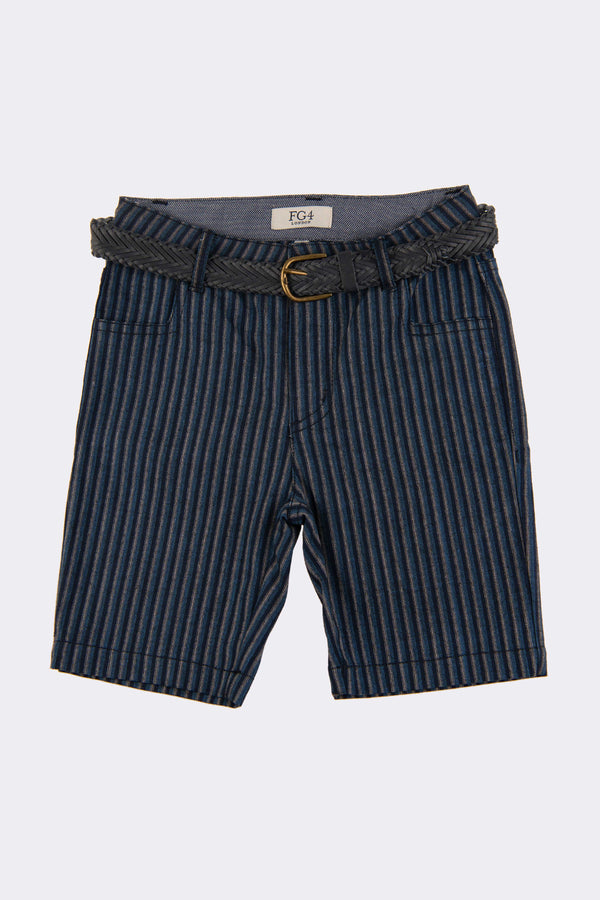 Multi stripe boys shorts with side pockets and a detachable belt.