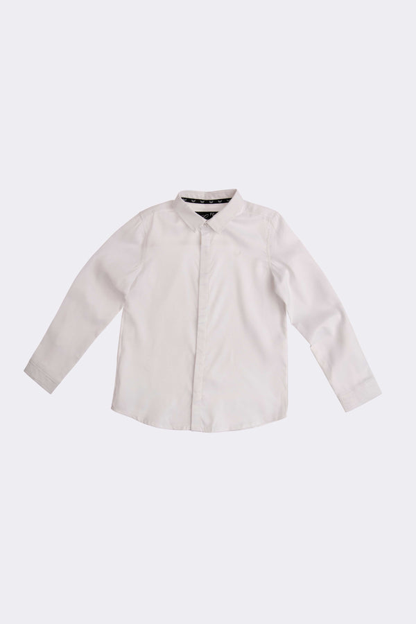 boys white long sleeve shirt with front opening buttons