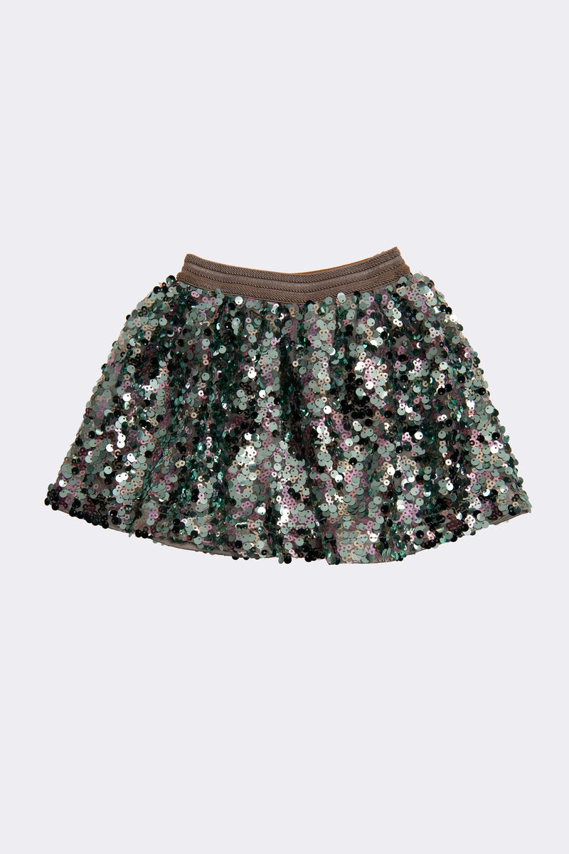 Sage sequin knee length skirt with elasticated waist for comfortable fit