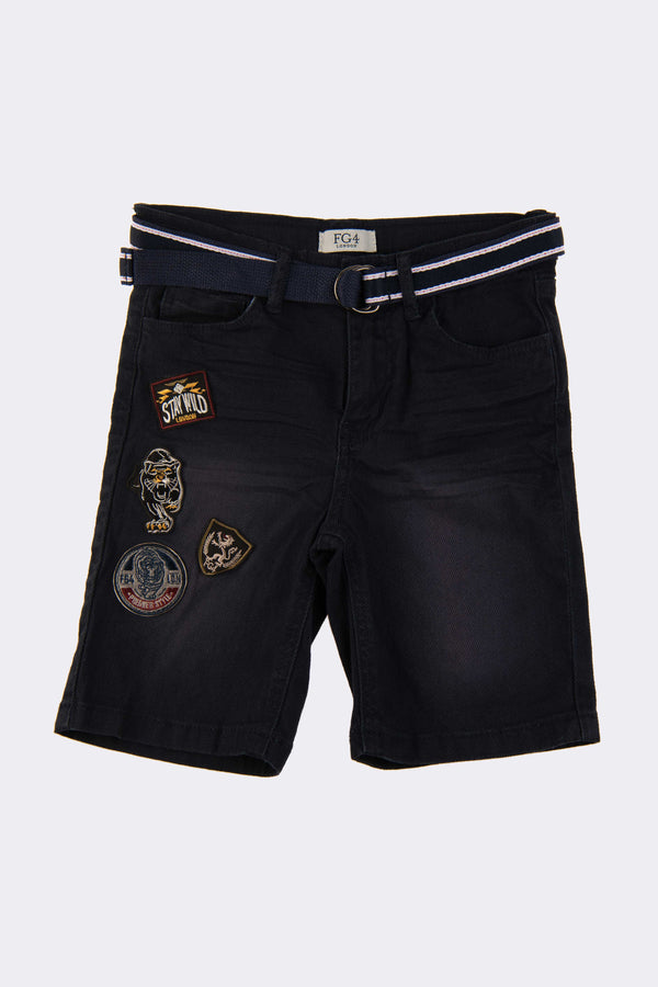Navy denim shorts with FG4 badge detail on front and a material belt