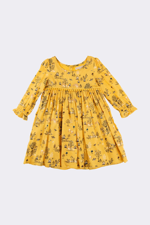 Mustard long sleeve girls dress with floral print and a round neck