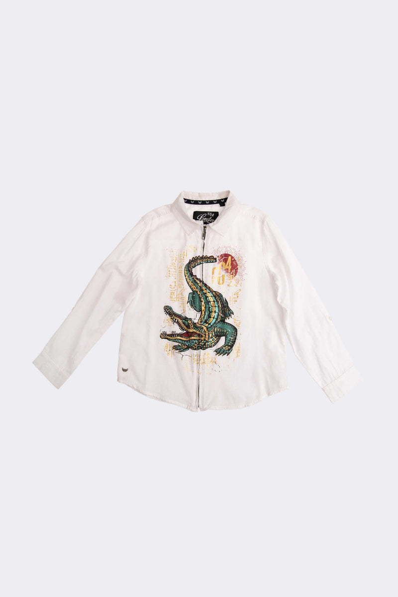 boys white long sleeve shirt with front zip opening and front croc detailed print.