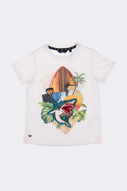 White short sleeves boys T Shirt with shark embroidery and design on the front