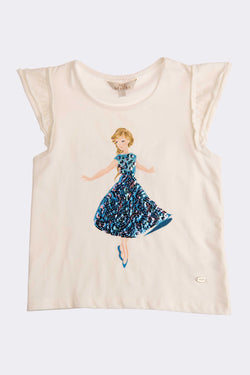 White cap sleeve t shirt with ballerina print on the front