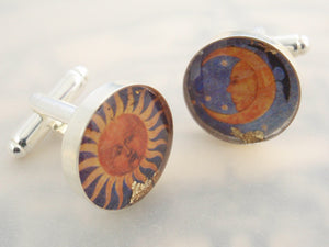 Medieval Sun and Moon - Art Re-framed cufflinks