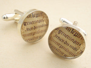 """Manuscript"" - Art Re-framed cufflinks for men"