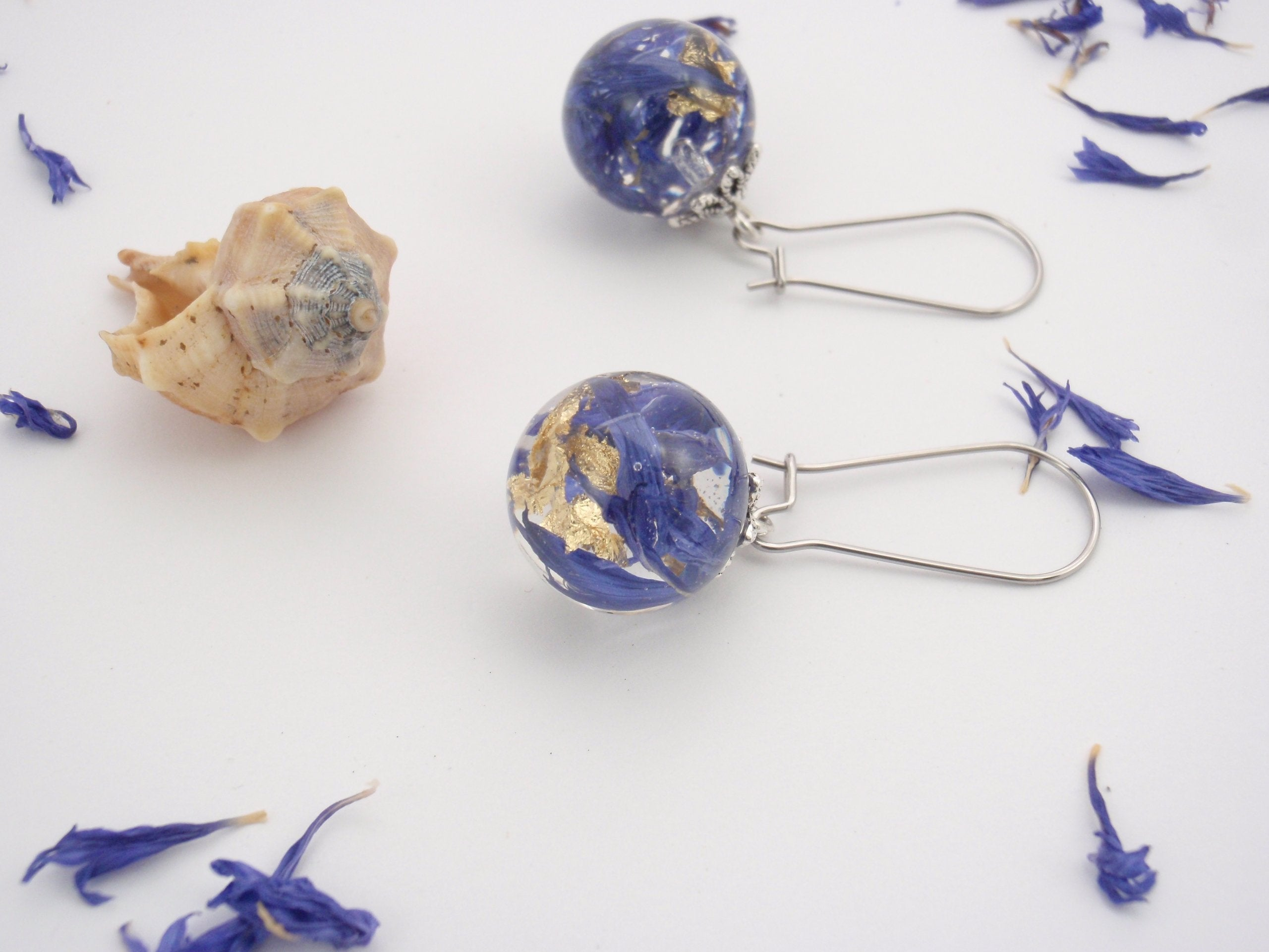 """Ocean Waves"" - unique earrings with cornflower petals and golden leaves"