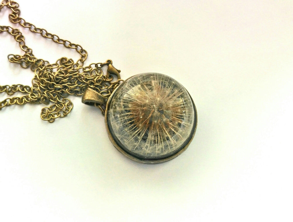 Universe - dandelion half sphere necklace